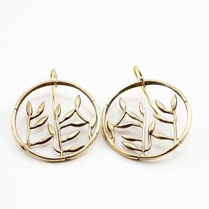 Gold Bamboo and Vine Hoop Earrings